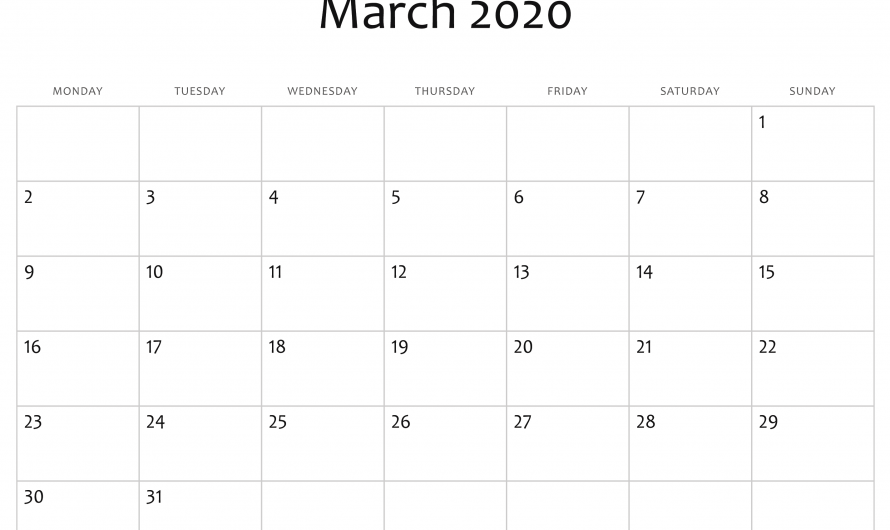 Printable March Calendar 2020 Portrait Landscape A4 Size Template