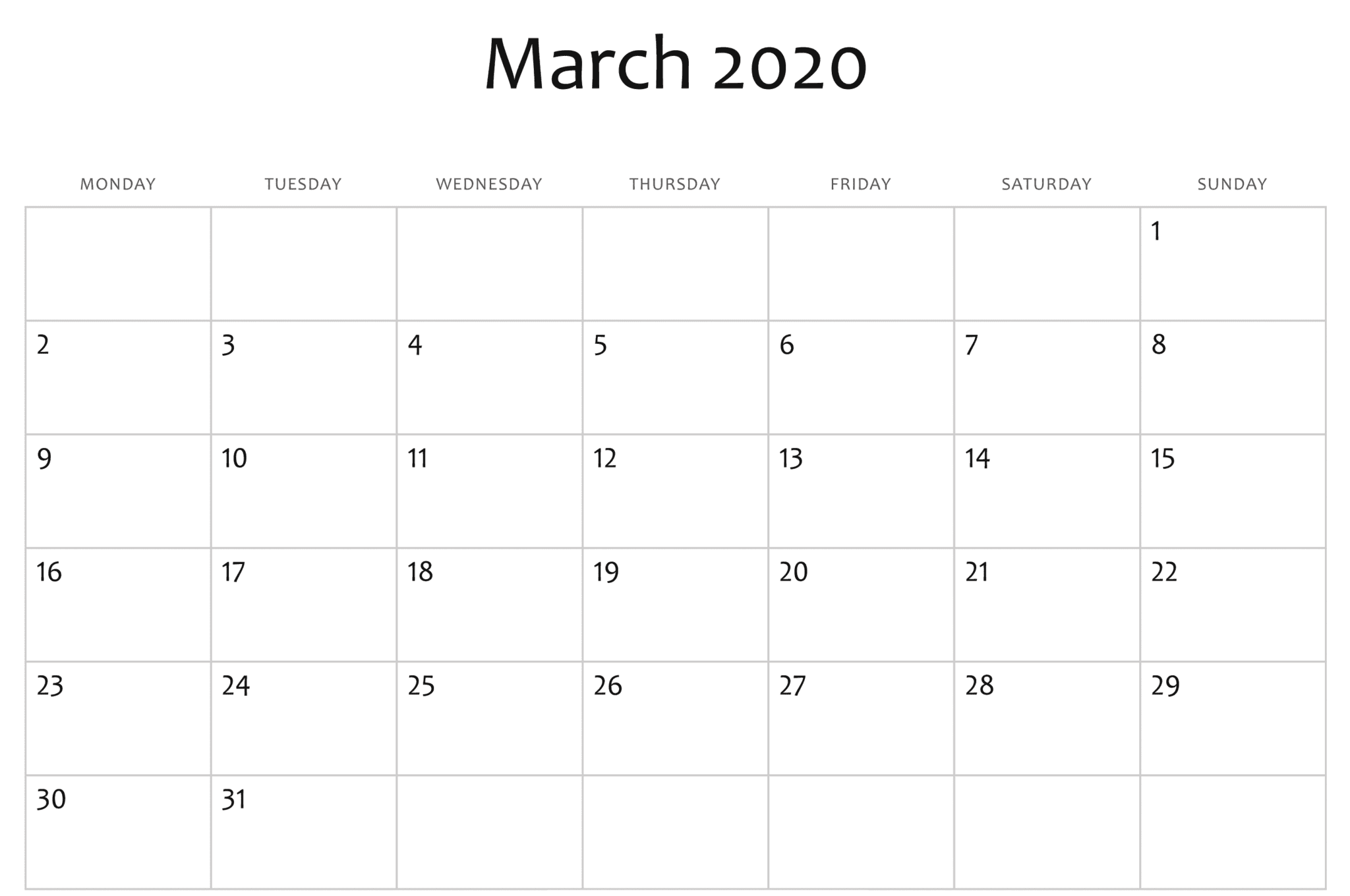 Blank March 2020 Printable Calendar Monthly Template