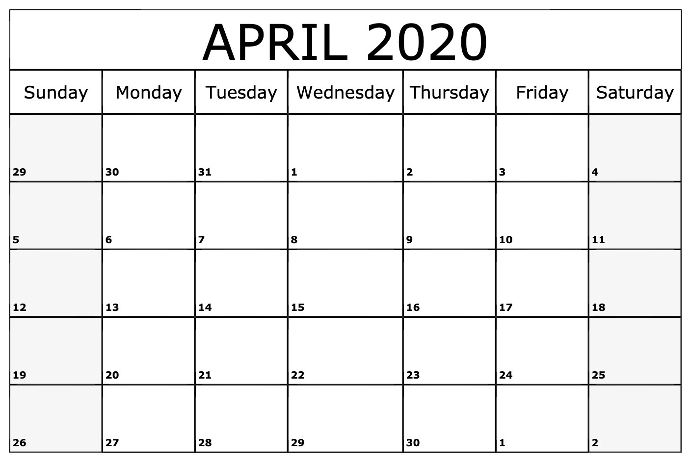 April 2020 Calendar Printable Monthly Template