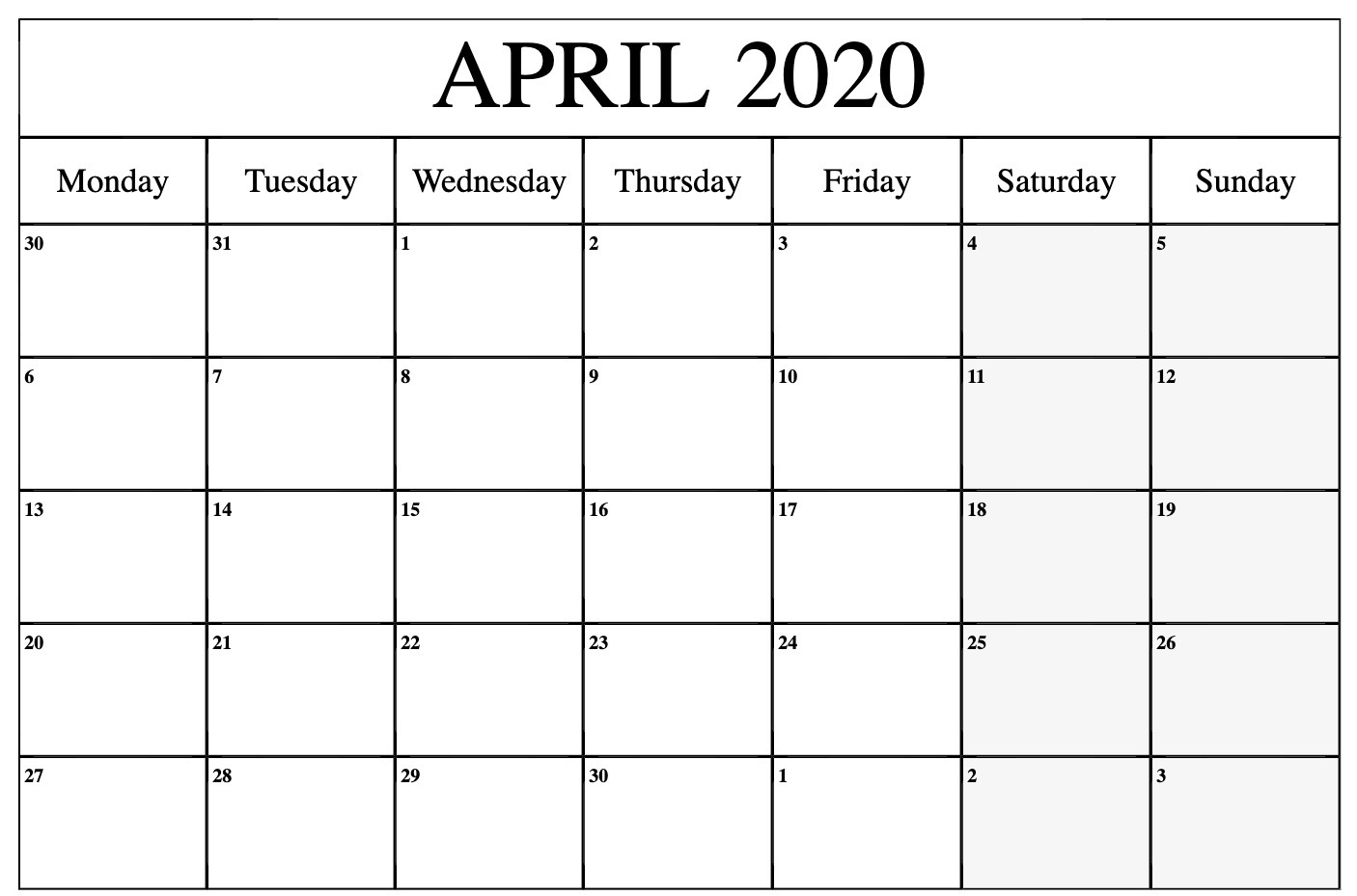April 2020 Printable Calendar Blank Monthly Template