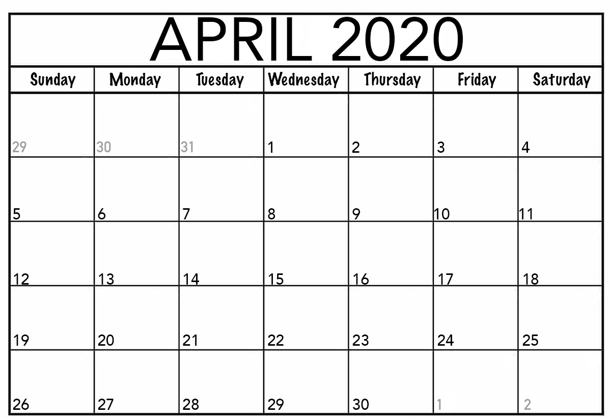 Blank April Fillable Calendar 2020