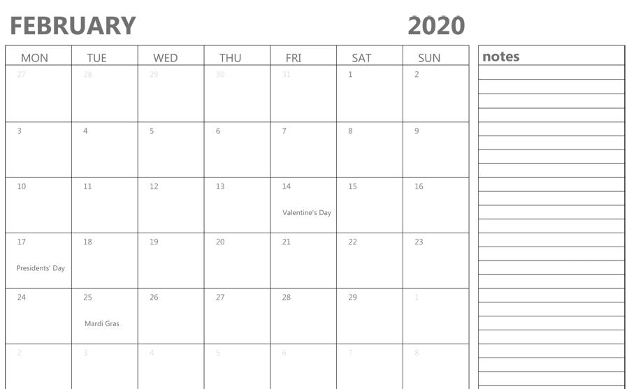 Blank February 2020 Calendar With Notes