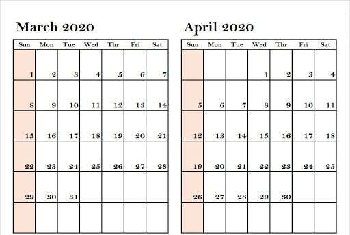 Blank Two Month March April 2020 Calendar Printable Templates