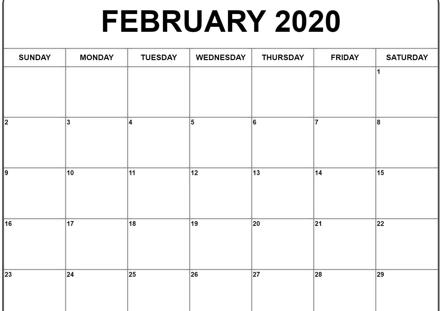 Editable Calendar of Feb 2020