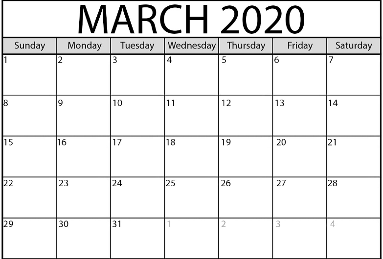 Blank Calendar For March 2020 Monthly Printable Holidays PDF Word
