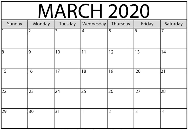 Editable March 2020 Monthly Calendar Excel
