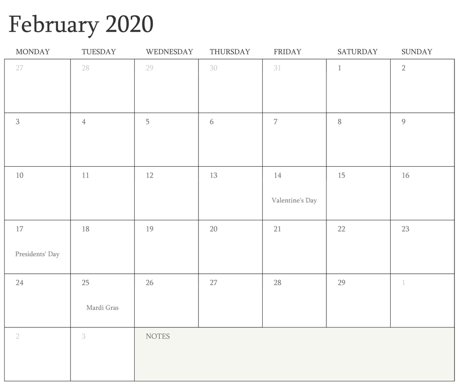 February 2020 Calendar with Holidays Canada