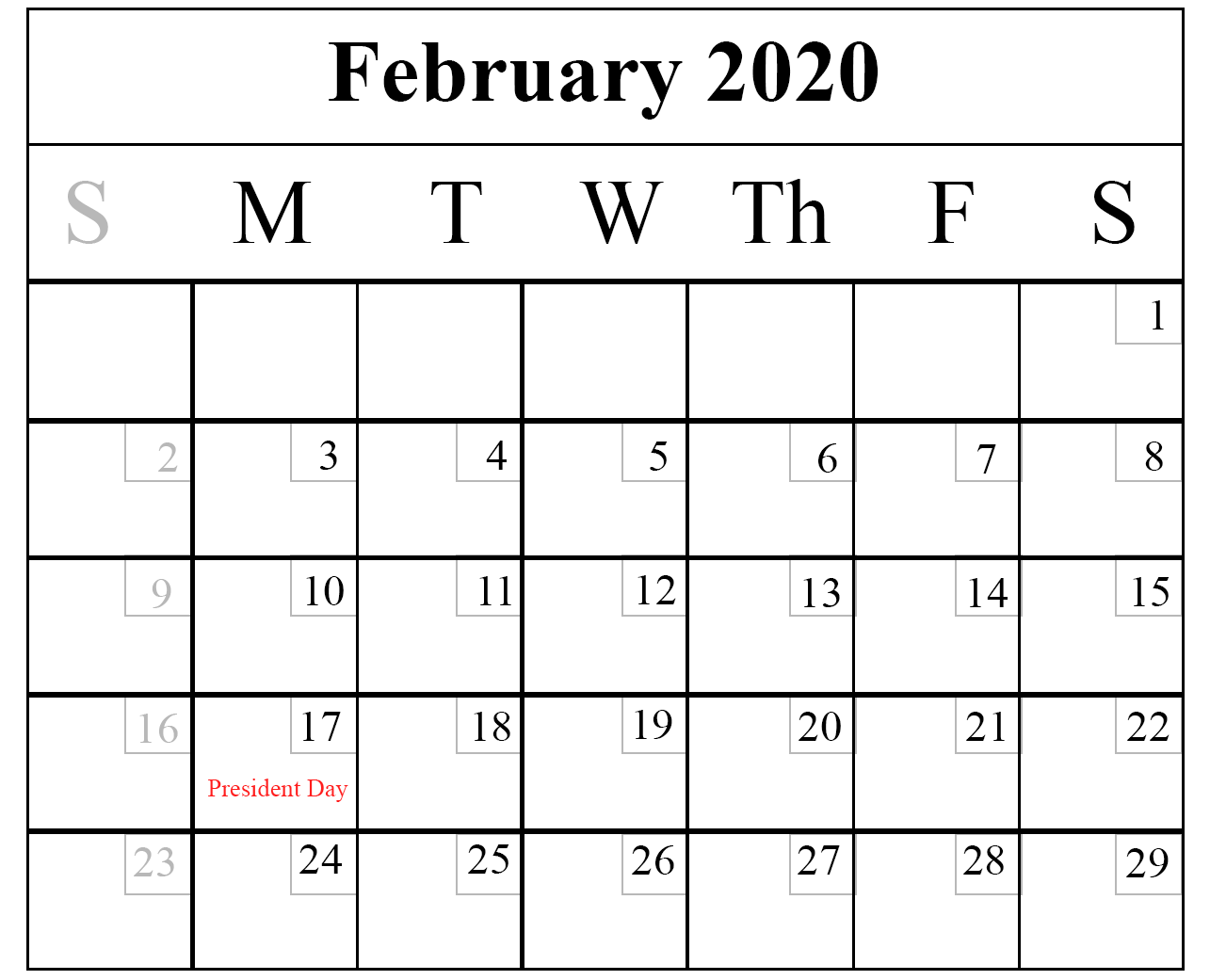 February 2020 Holidays Calendar UK