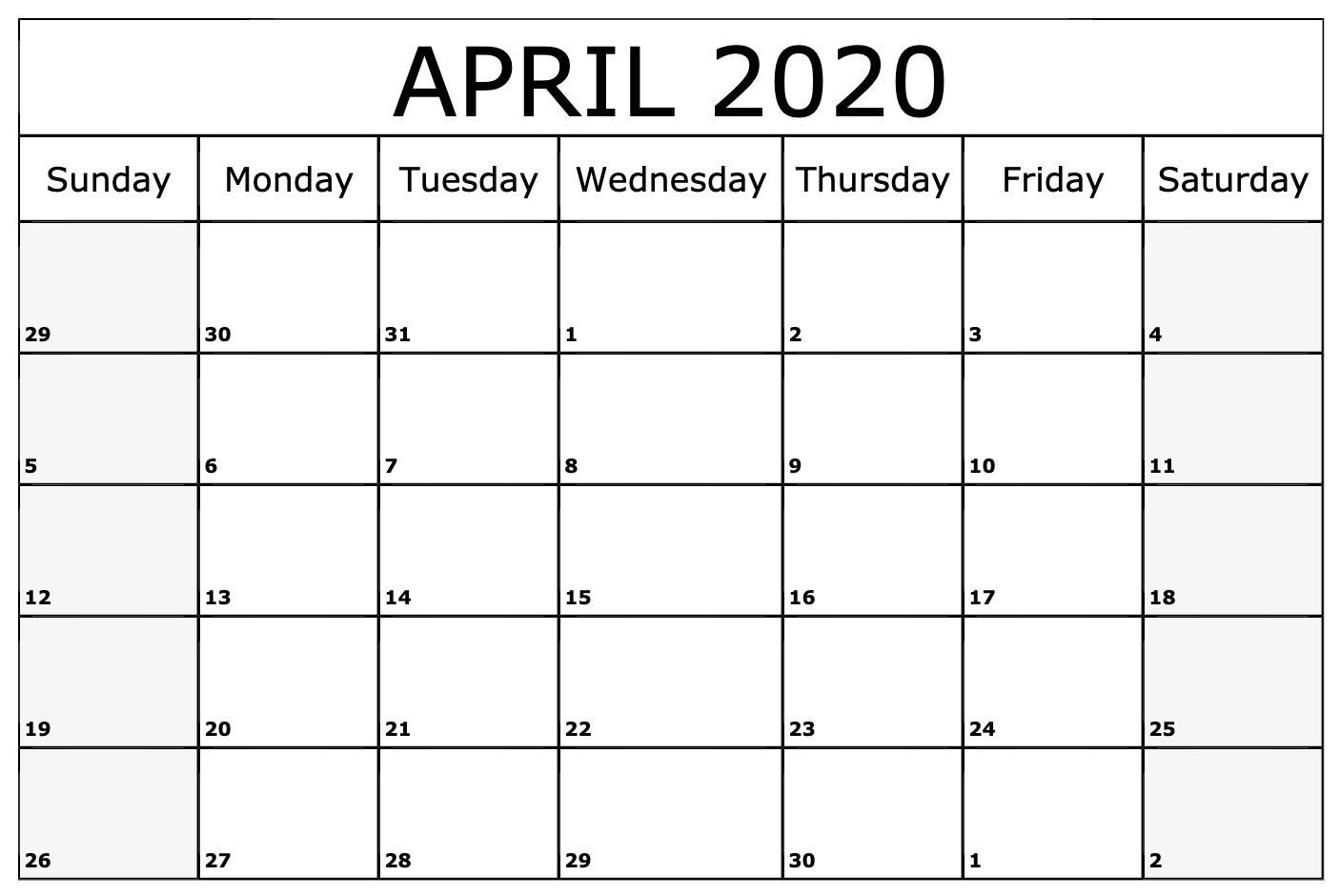 Fillable April 2020 Calendar Template Blank