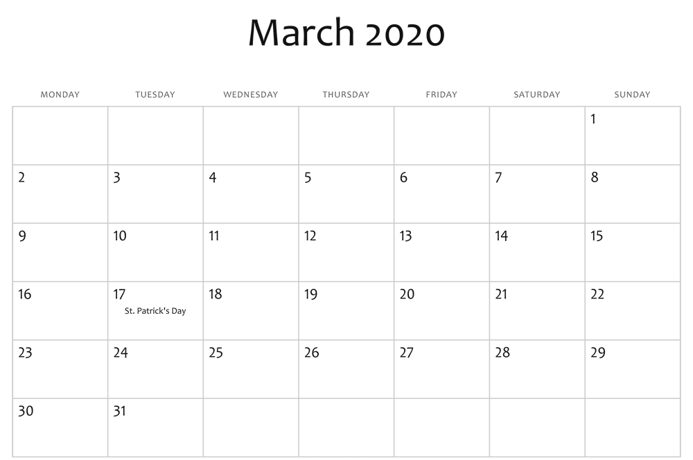 Fillable March 2020 Calendar Template