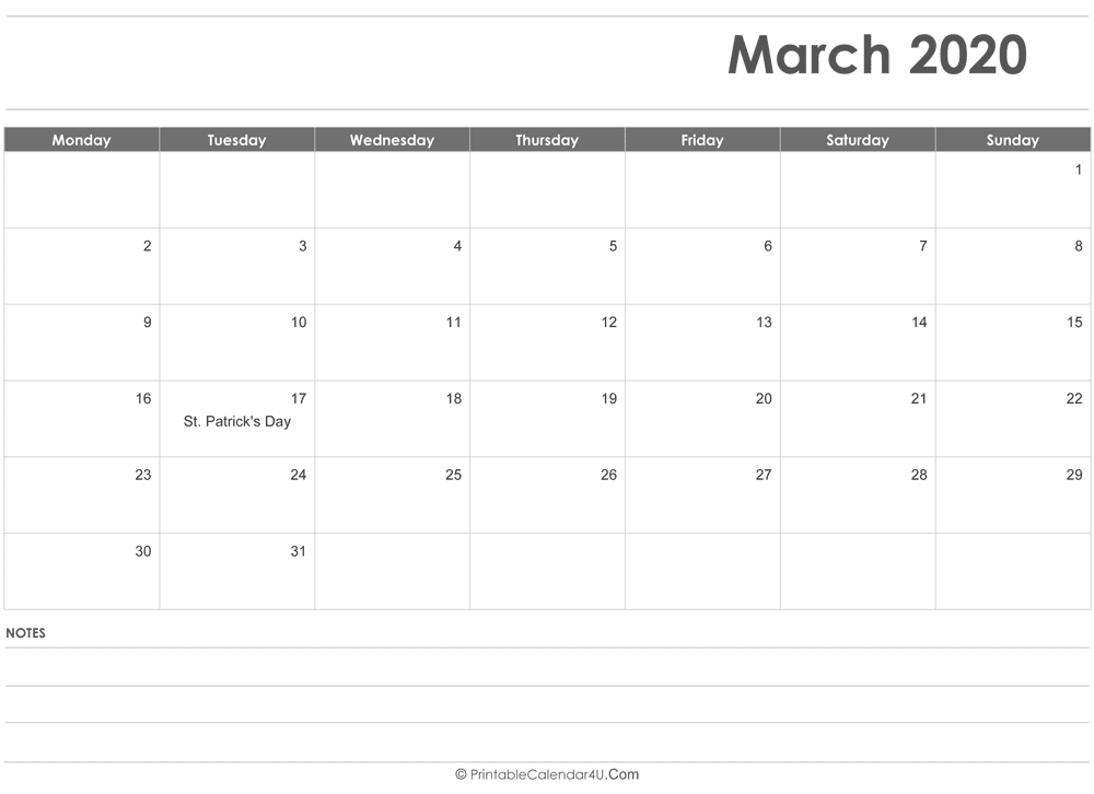 Free Editable March 2020 Monthly Calendar