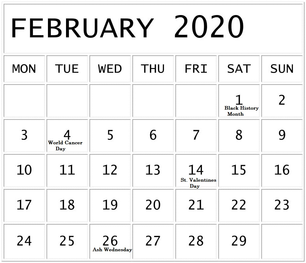Free February 2020 Calendar With National Holidays