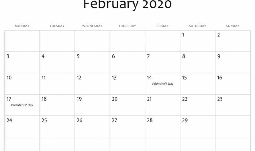 Blank February 2020 Calendar Printable Template Editable Holidays