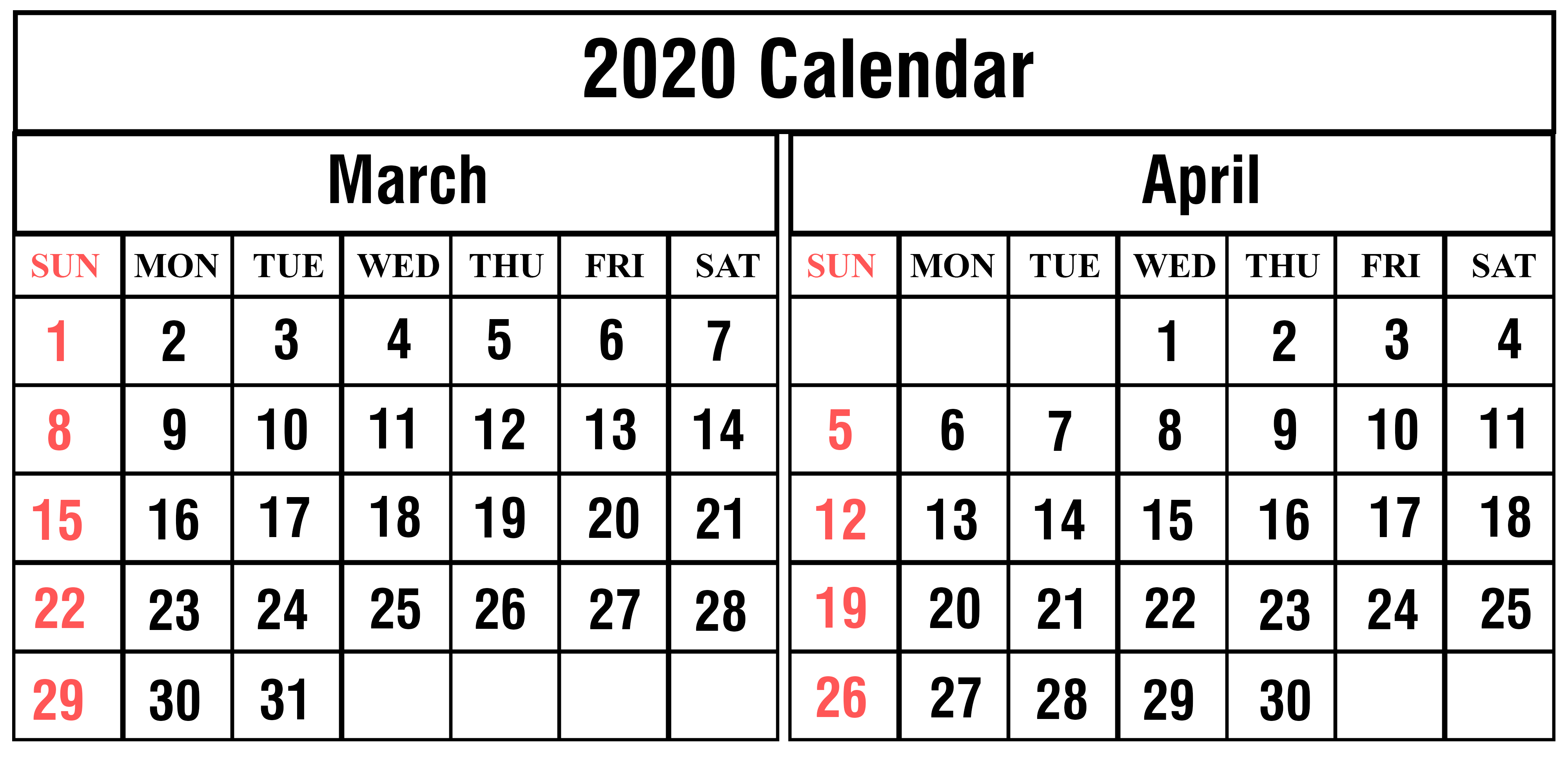Free Printable March and April 2020 Calendar