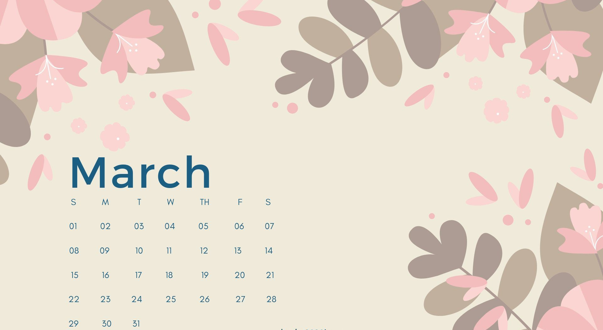 March 2020 Calendar Desktop Wallpaper