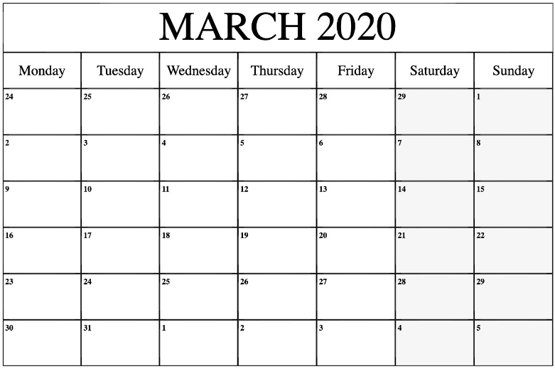 Blank March 2020 Calendar Printable Template Editable PDF, Word, Notes, Excel