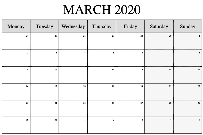 March 2020 Monthly Calendar Editable Template