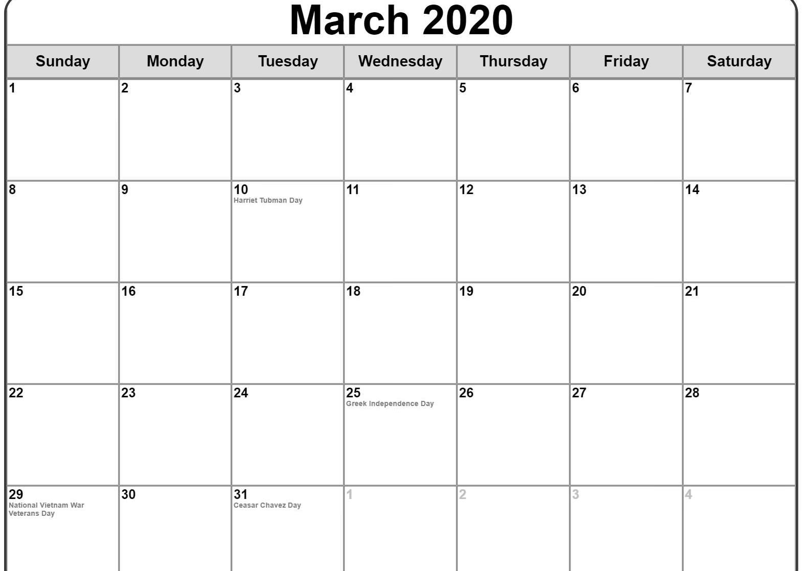 March 2020 Monthly Calendar With Holidays