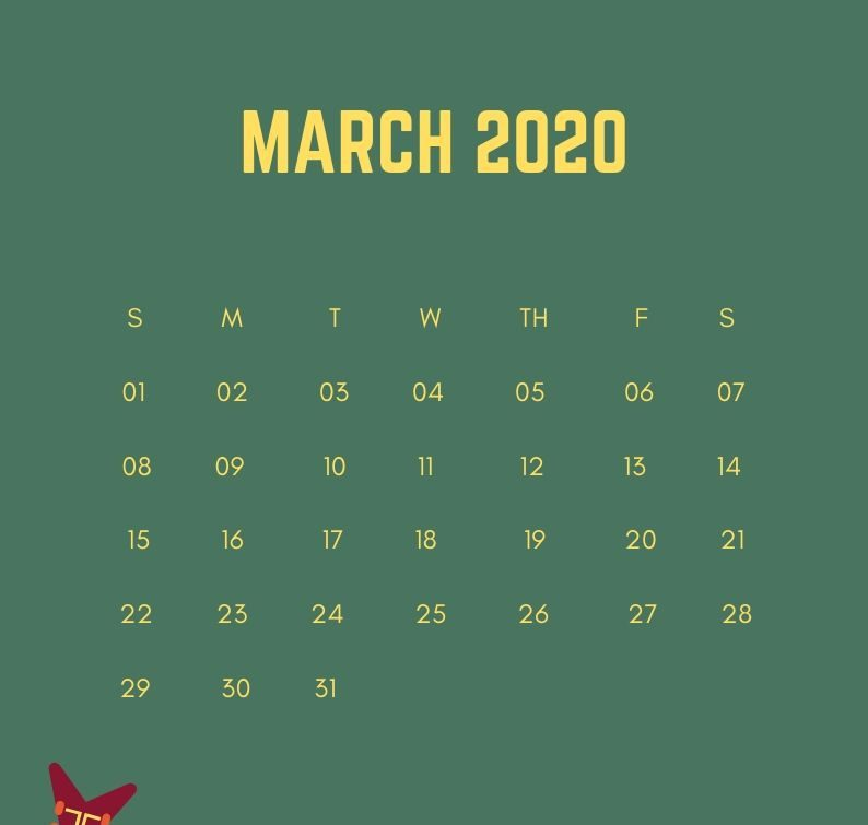 March 2020 iPhone Calendar