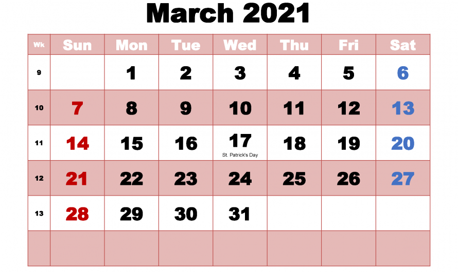March 2021 Monthly Calendar For Office Schedule