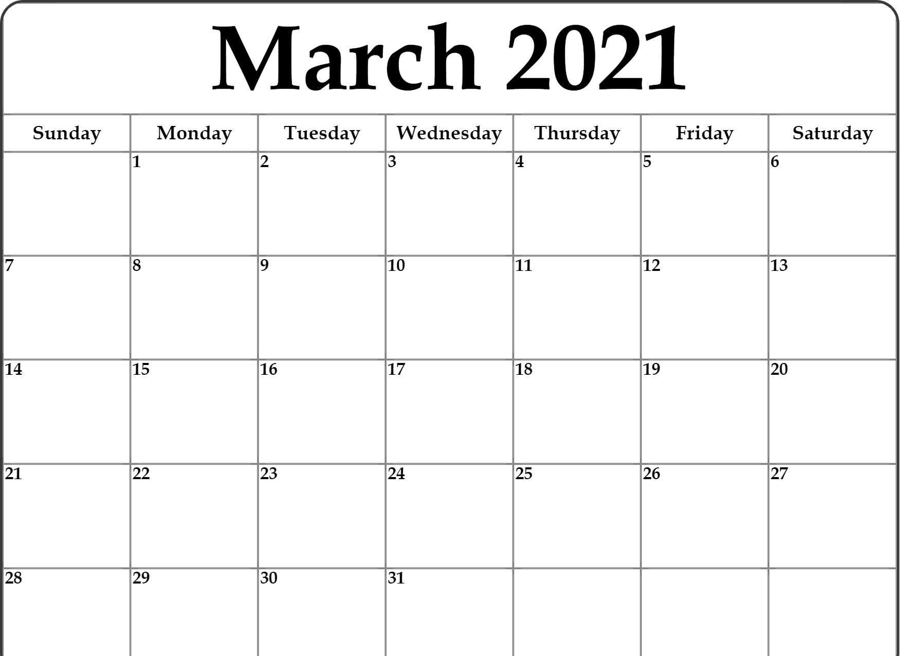 March 2021 Monthly Calendar
