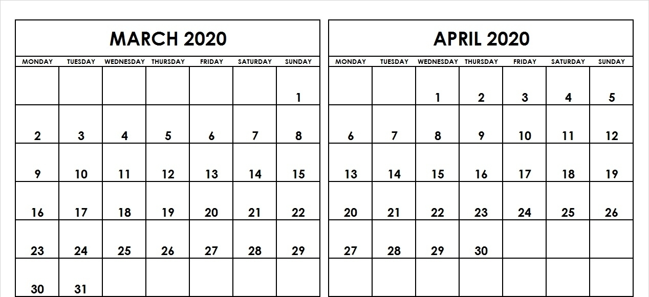 March April 2020 Calendar Printable Template