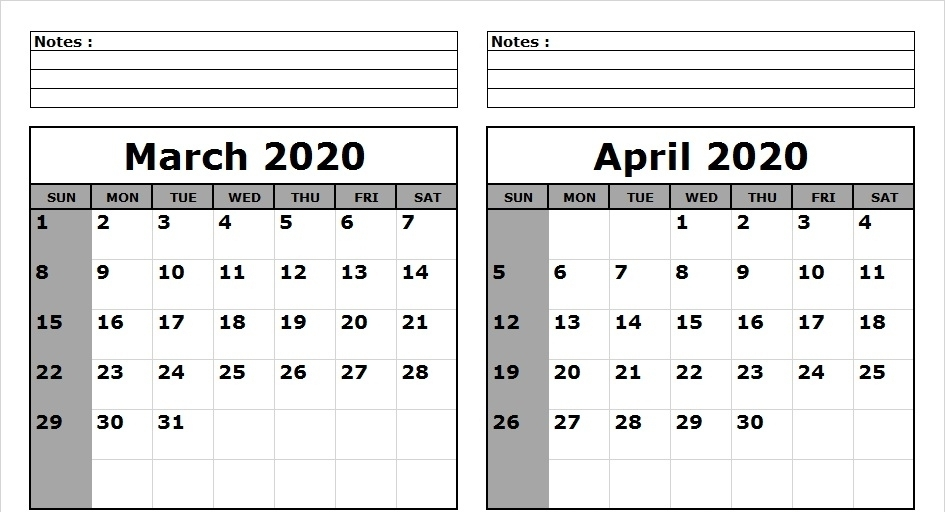 March April 2020 Calendar with Notes