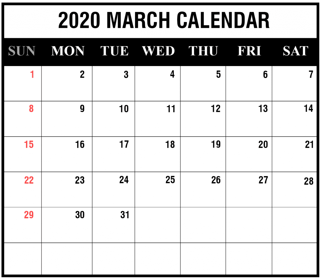 Monthly Calendar For March 2020 Printable