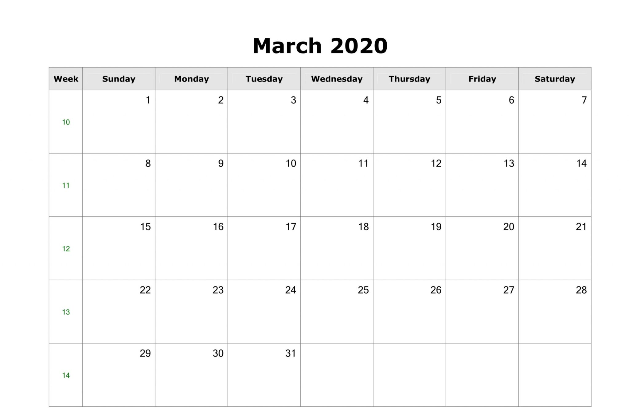 Monthly Calendar For March 2020 Template