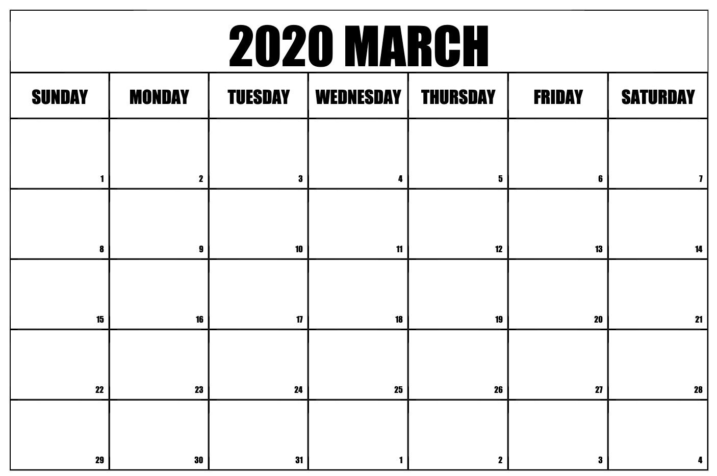 Monthly Calendar For March 2020