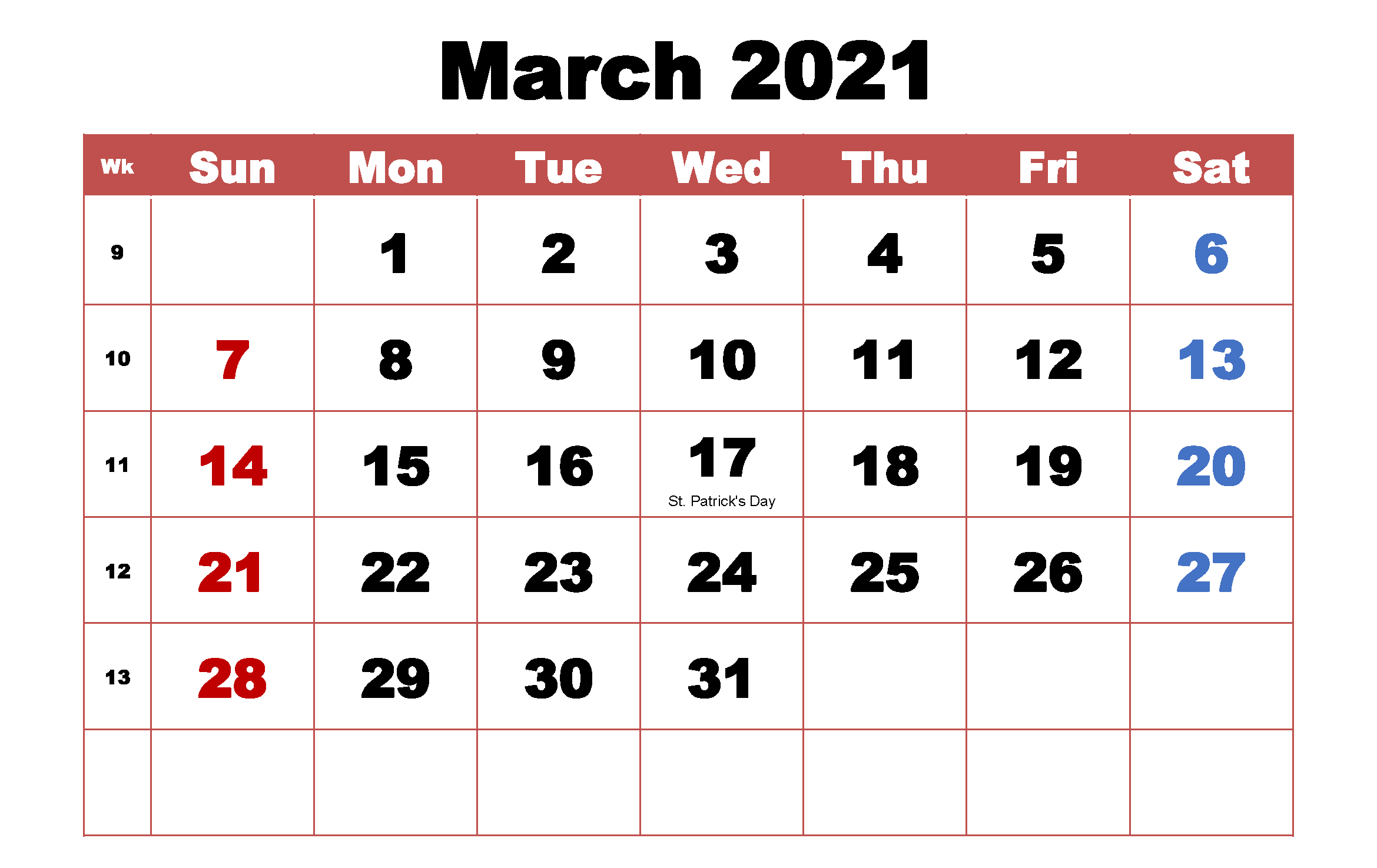 Monthly March 2021 Calendar