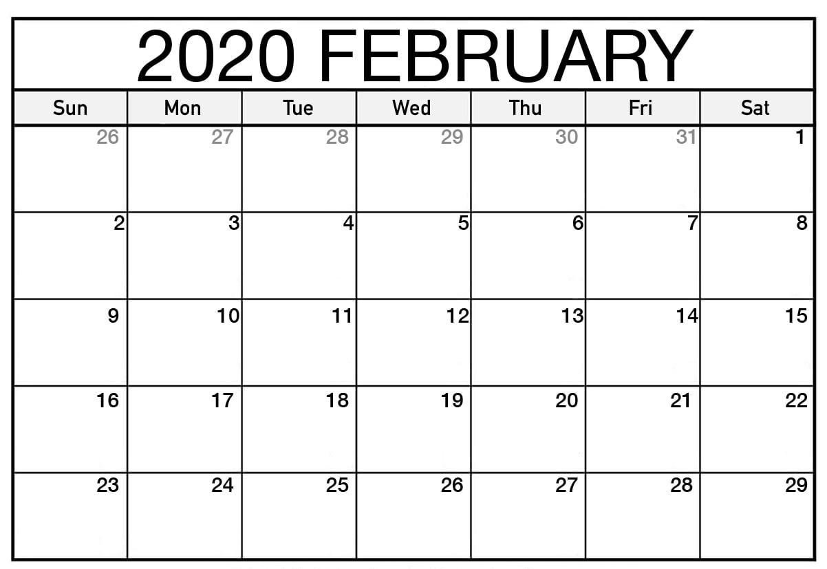 Print Feb 2020 Calendar Monthly Template