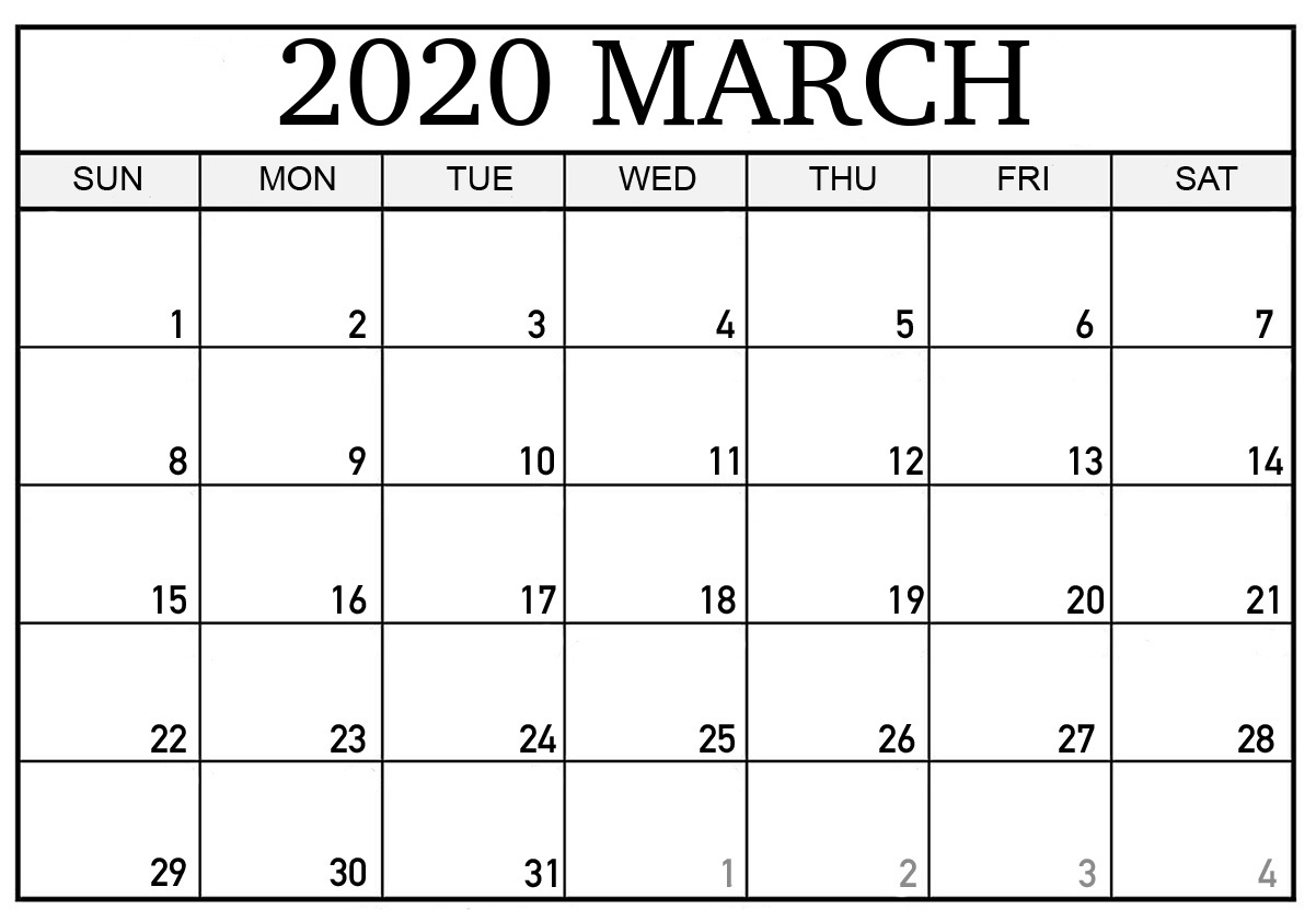 Printable March Calendar 2020 Template