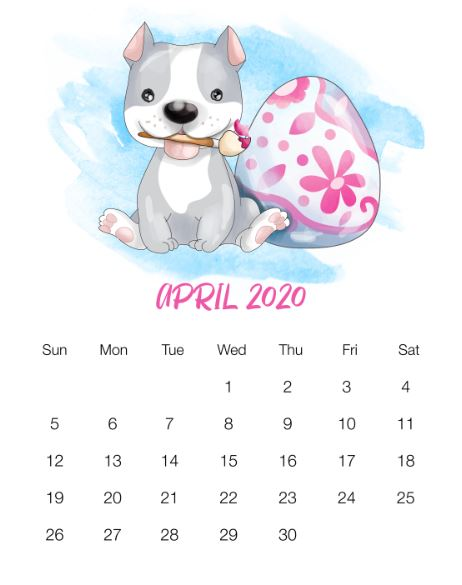 April 2020 Calendar Printable Template In Pdf Word Notes Excel
