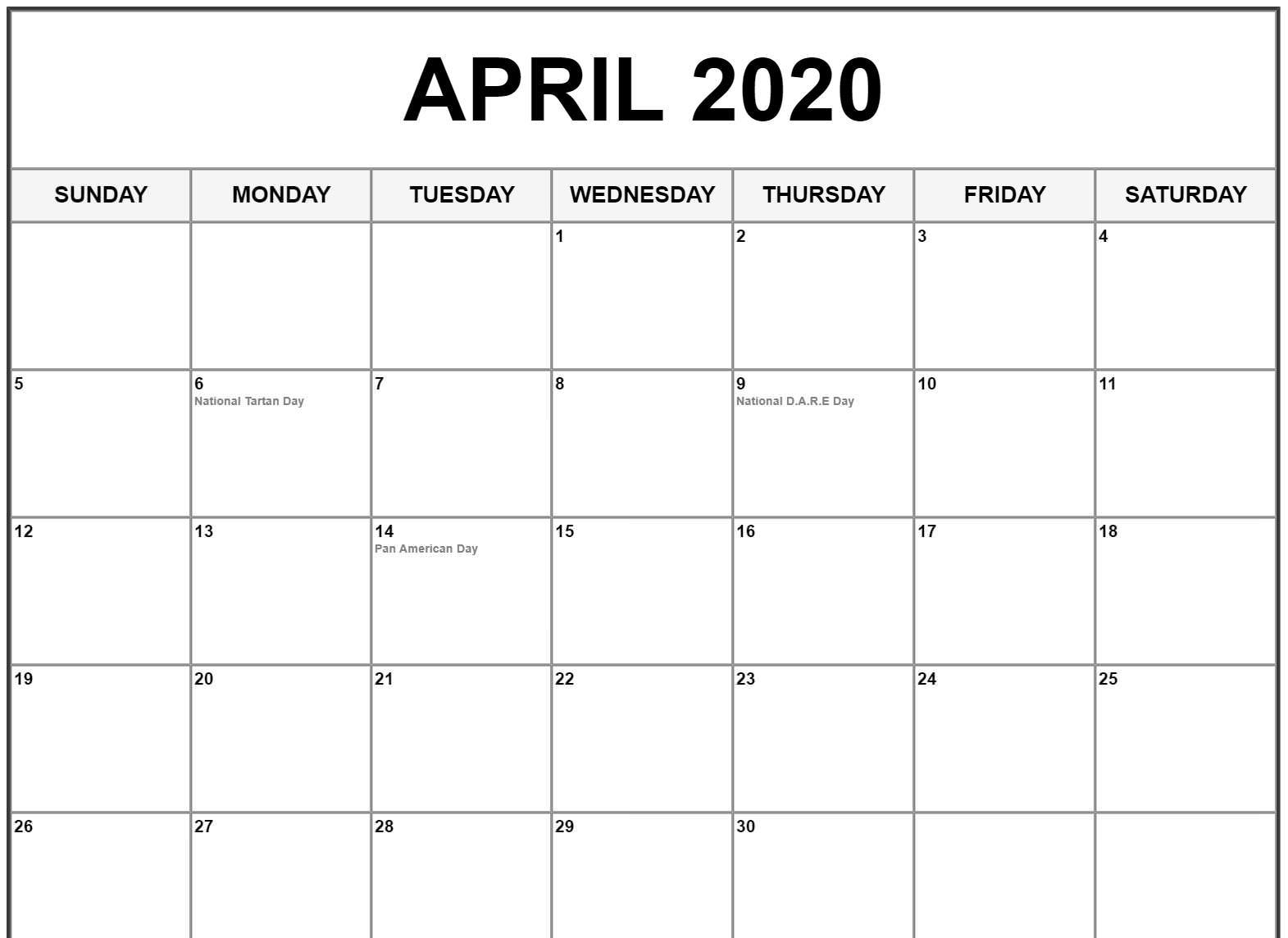April 2020 Calendar with Holidays Canada