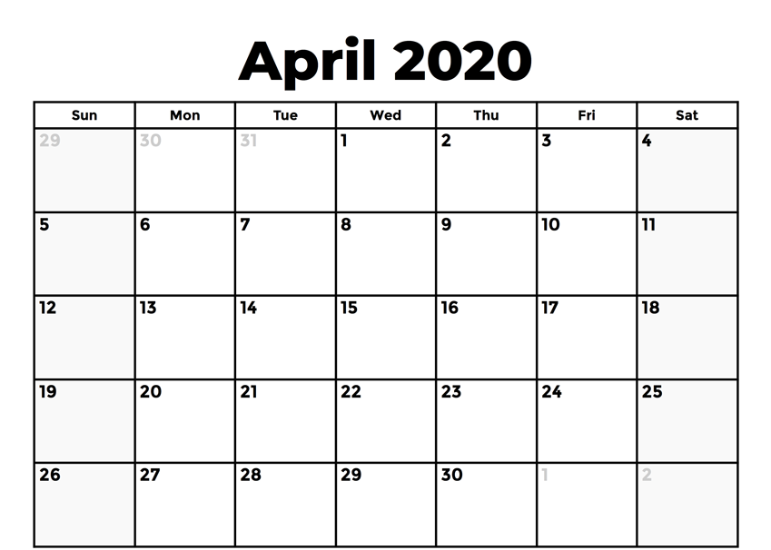 April 2020 Holidays Calendar UK