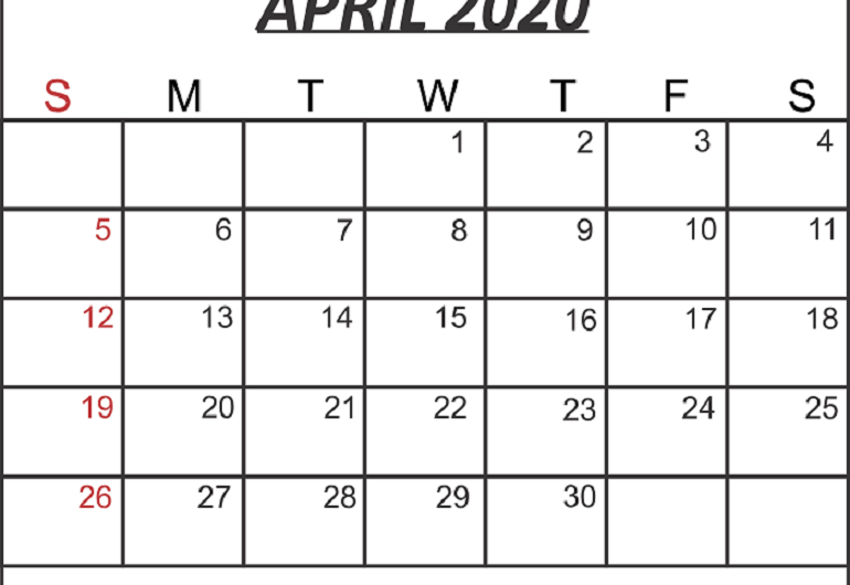 April 2020 Calendar Printable Template in PDF, Word, Notes, Excel