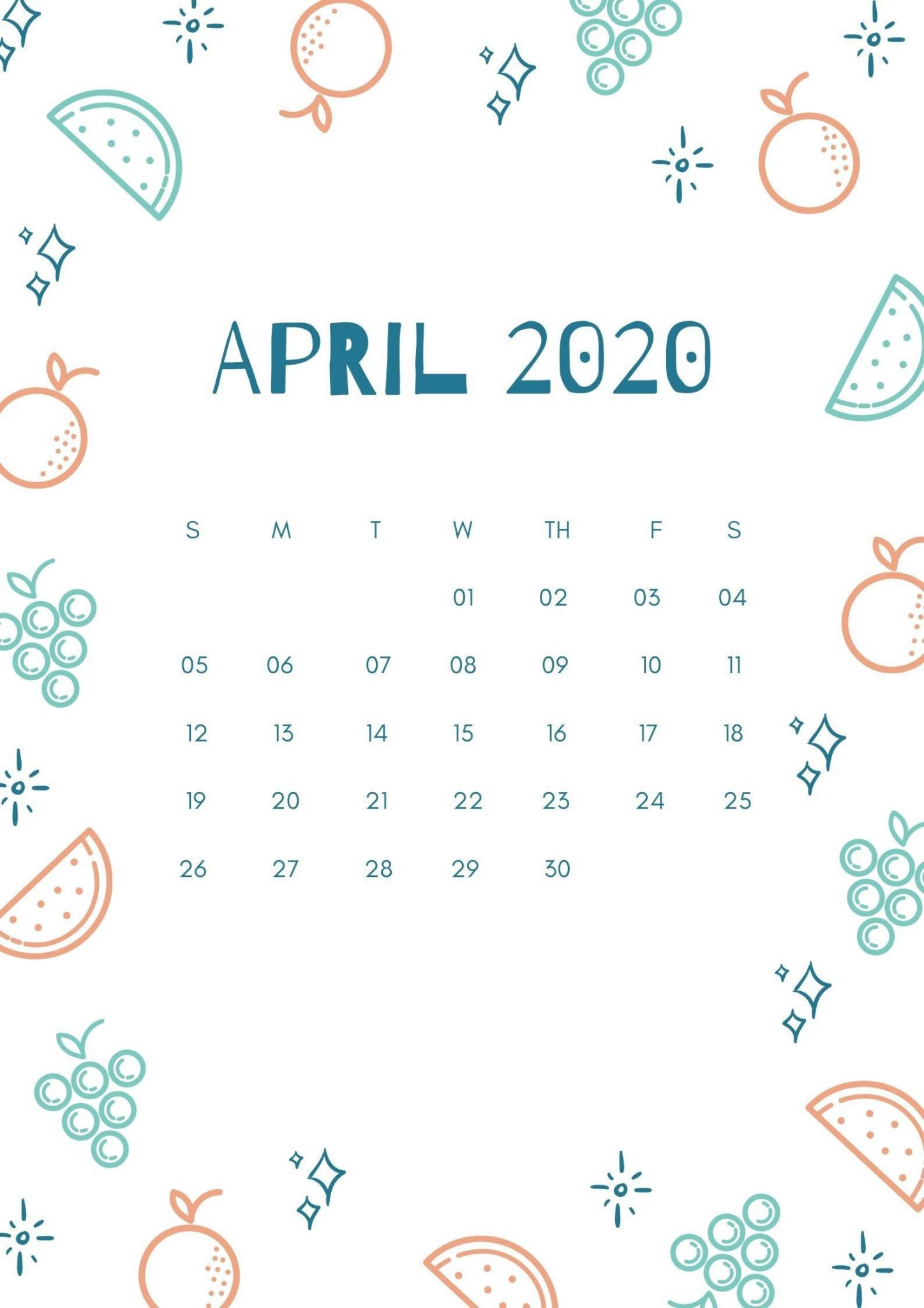Cute April 2020 iPhone Calendar