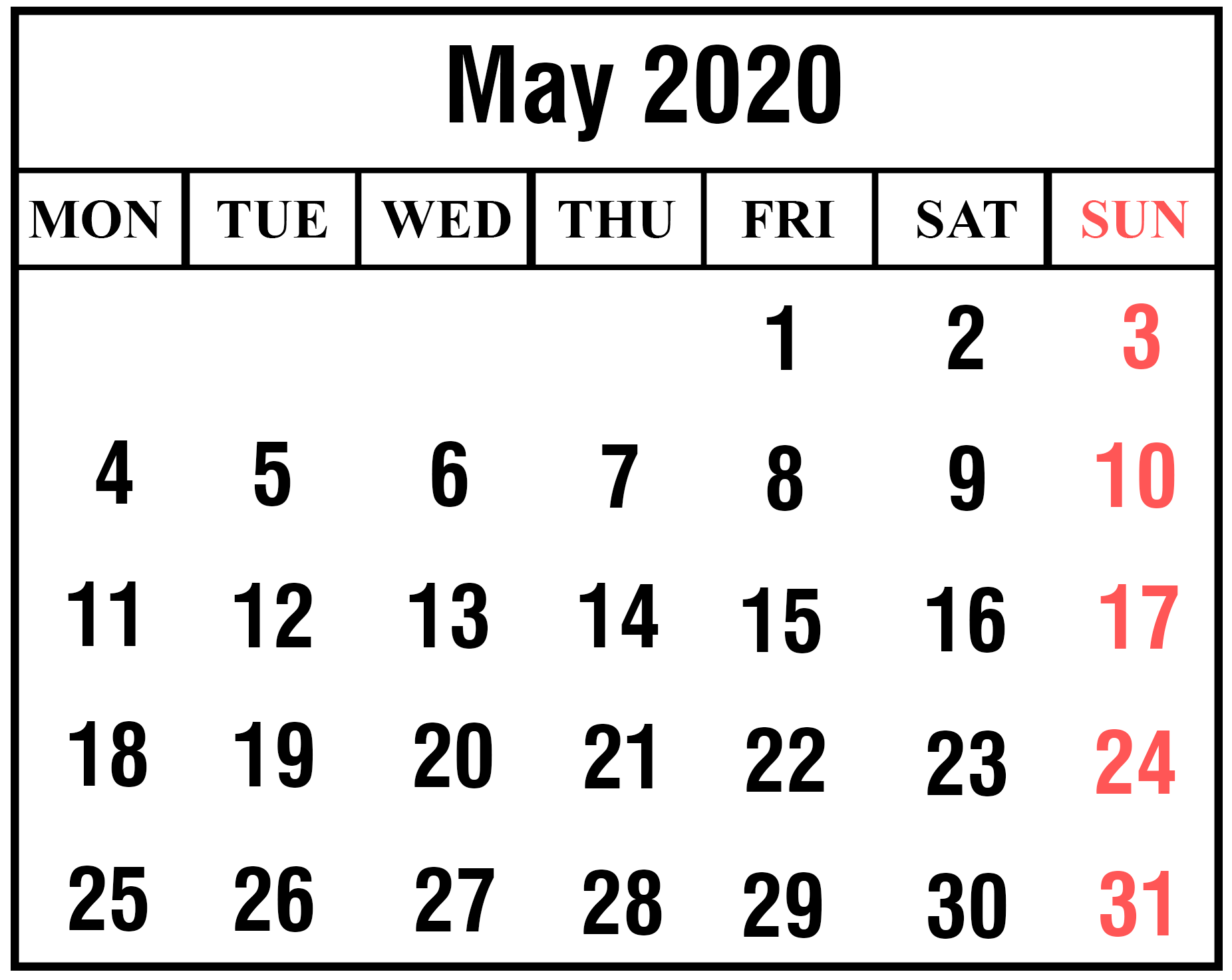 May 2020 Calendar with Holidays India