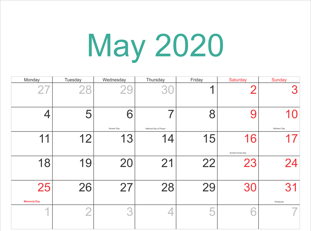 May Calendar 2020 Printable Template