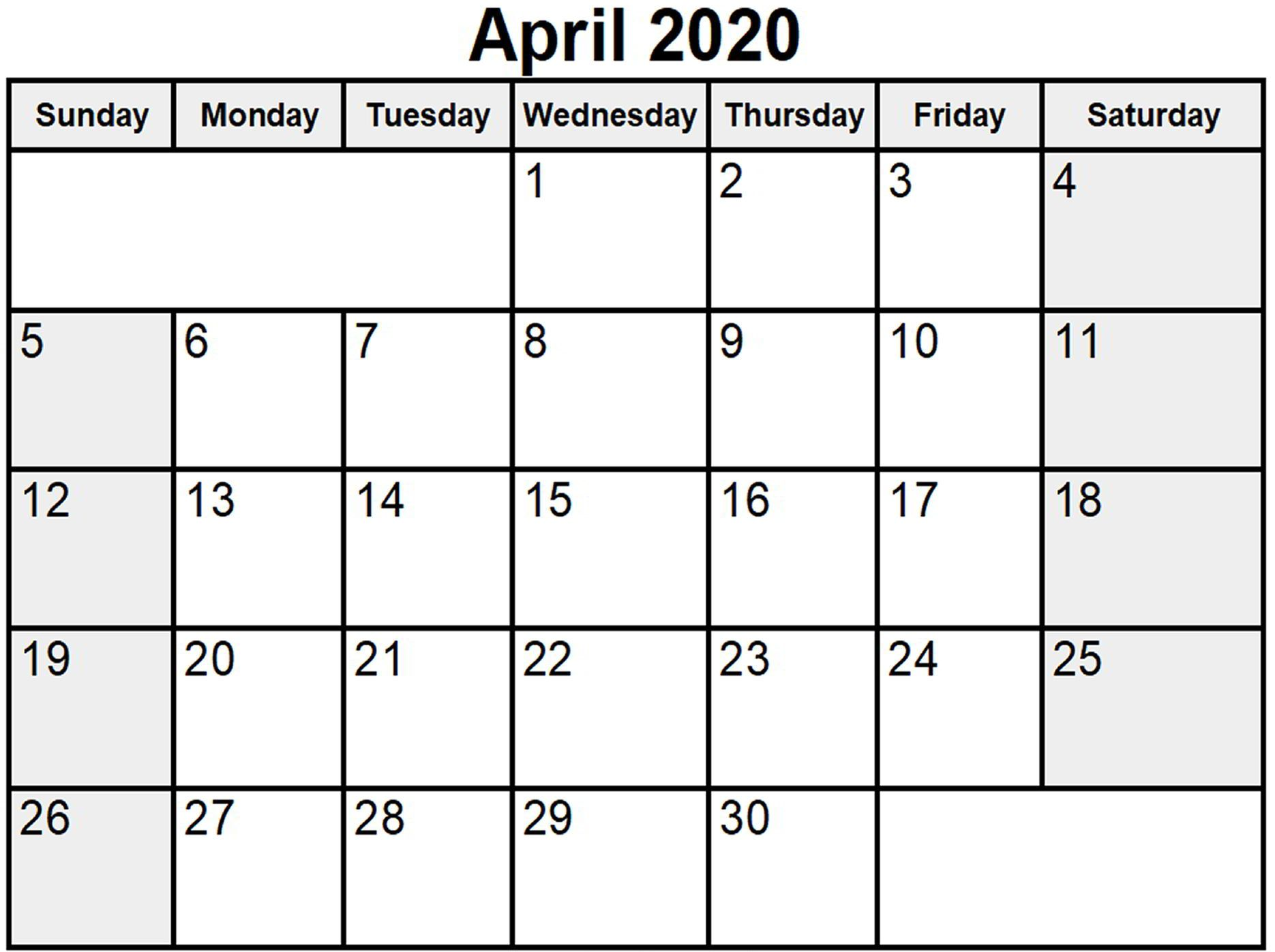 Printable April 2020 Holidays Calendar South Africa