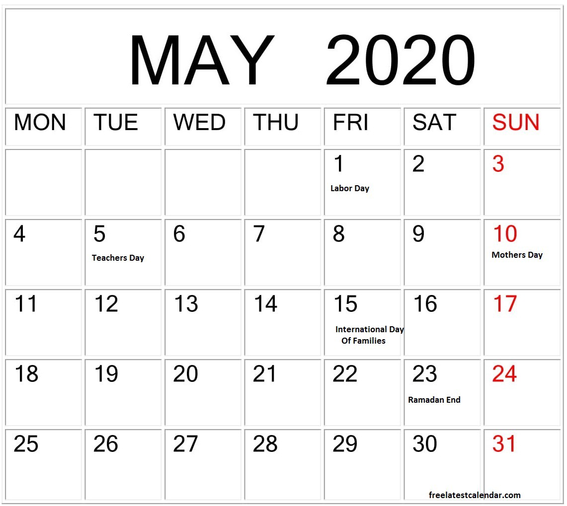2020 May Calendar with Holidays India
