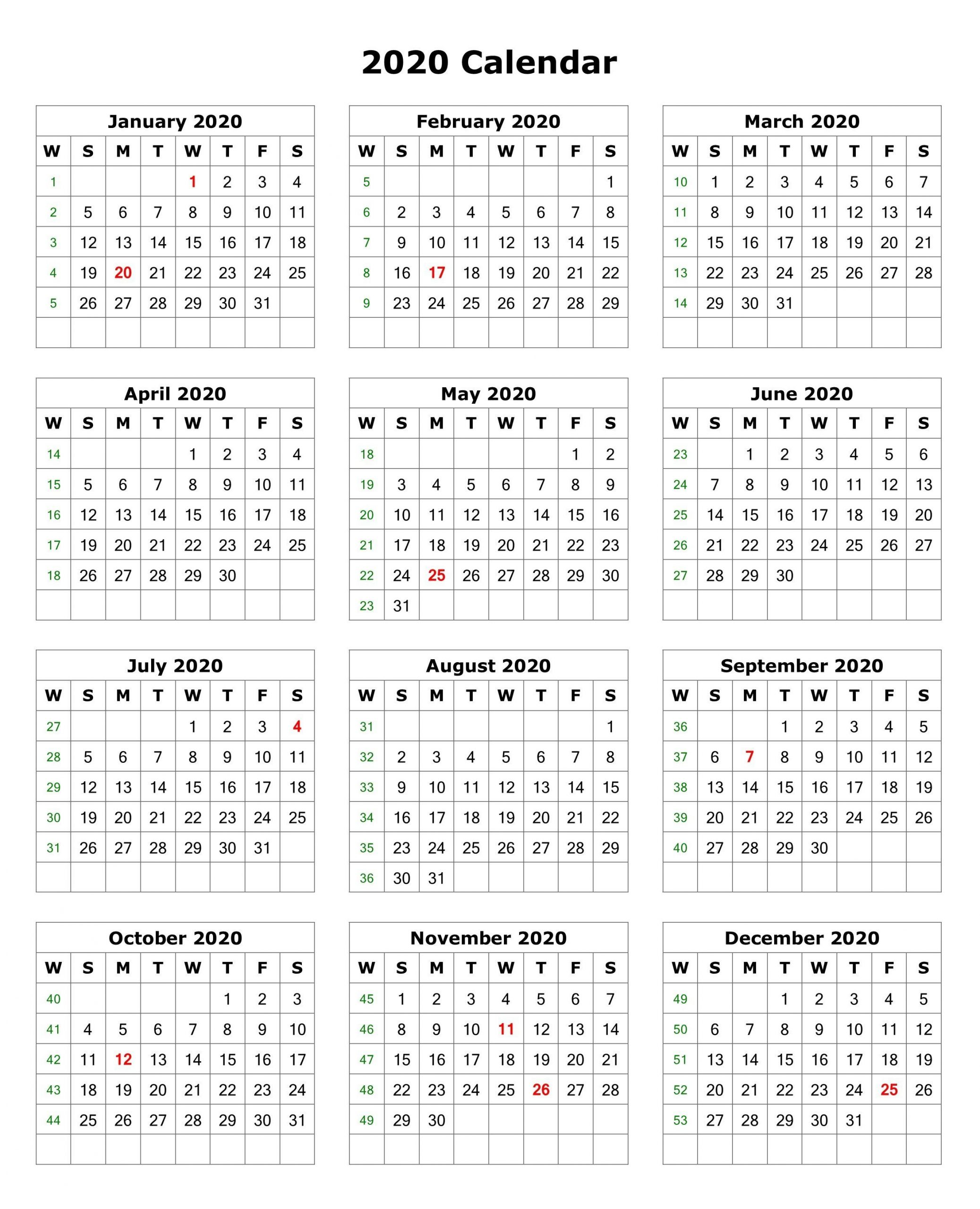 January To December 2020 Calendar in One Page