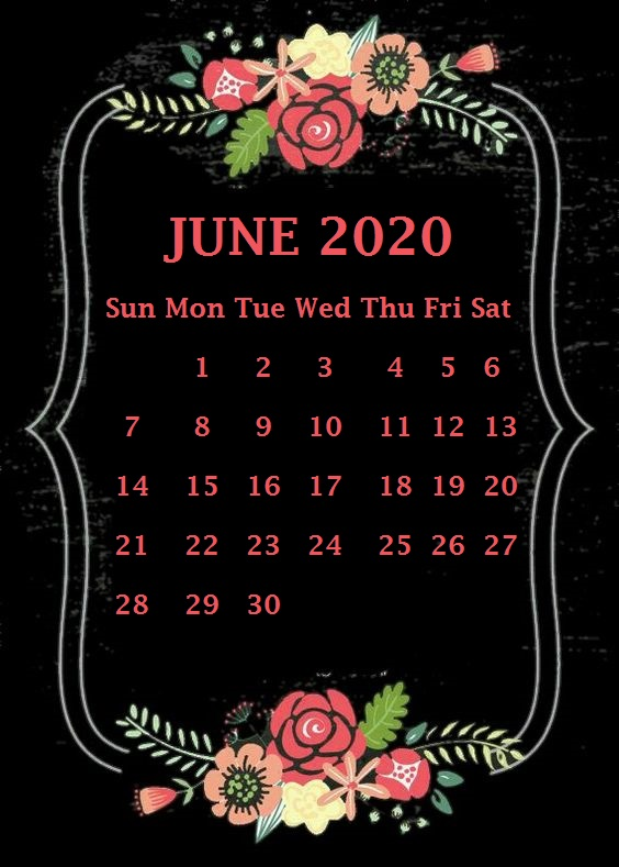 Decorative Printable June 2020 Calendar Cute
