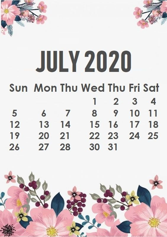 Floral June 2020 iPhone Calendar