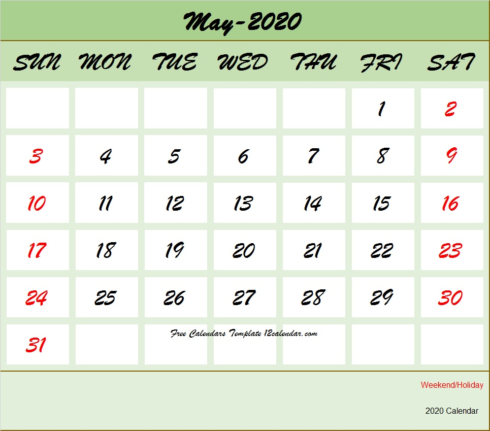 Free Printable 2020 May Calendar Holidays Template