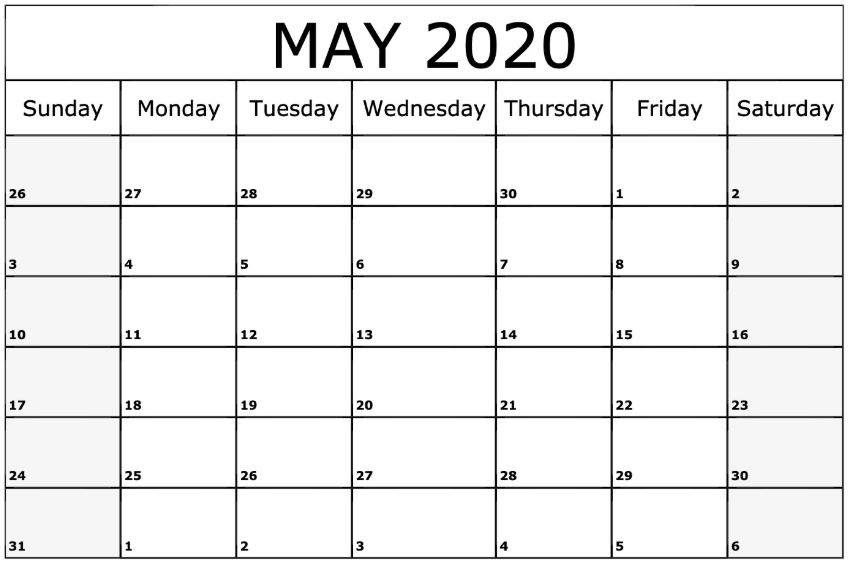 Free Printable May Calendar 2020 Monthly Templates
