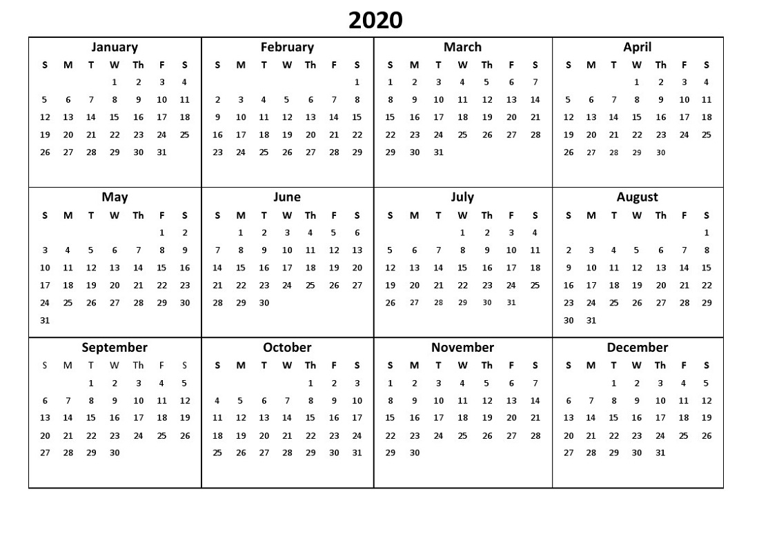 Free Yearly Printable 2020 Calendar in One Page