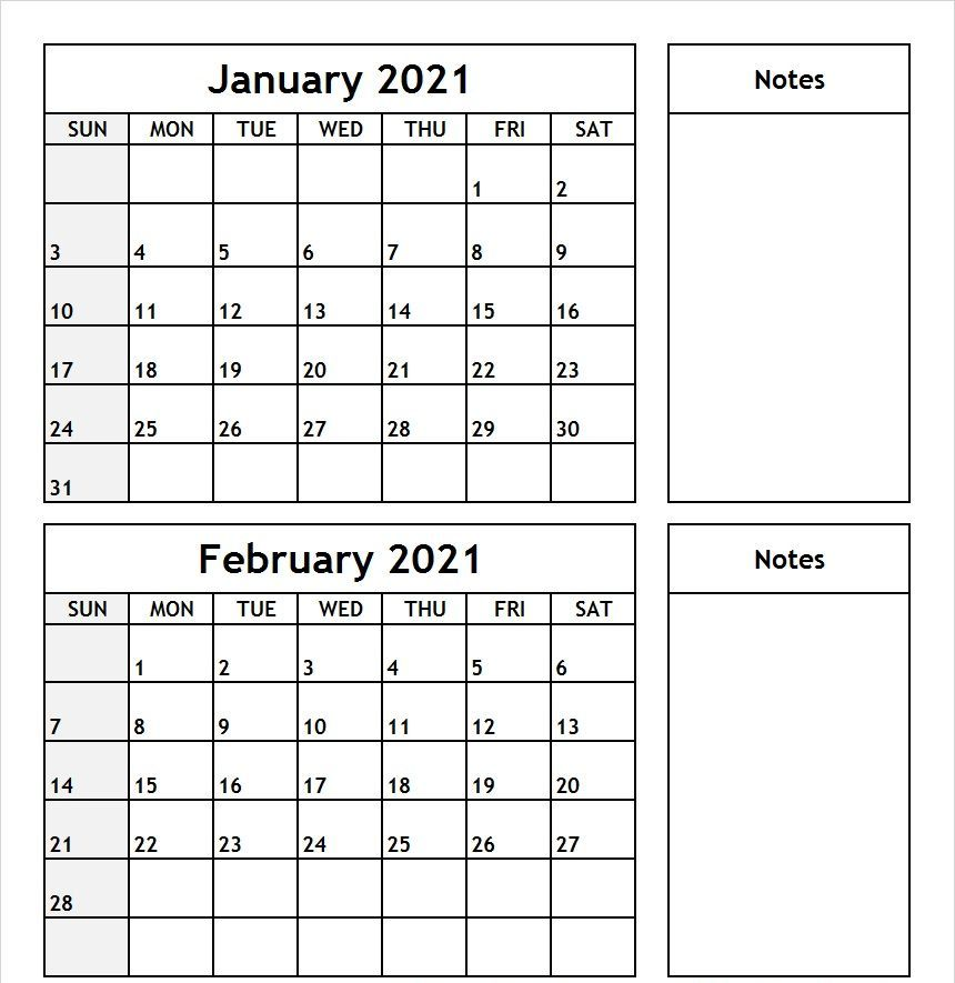 January February 2021 Calendar with Notes