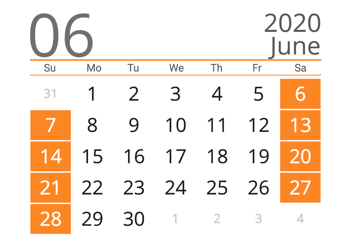 June 2020 US Calendar With Holiday